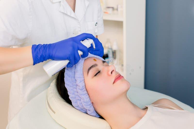 Όμορφο δέρμα προσώπου Cosmetologist που κάνει τη διαδικασία ομορφιάς για τον ασθενή Μασάζ προσώπου, skincare Γυναίκα που παίρνει  στοκ φωτογραφία