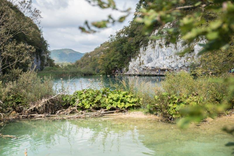 Όμορφο εθνικό πάρκο στην Κροατία, λίμνες Plitvice στοκ εικόνα