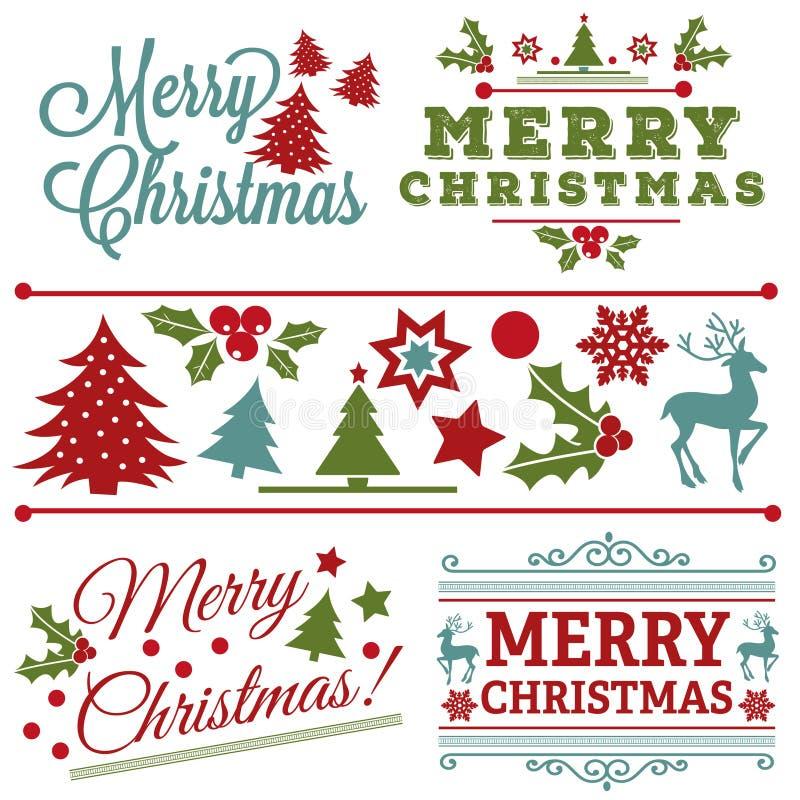 Όμορφο εκλεκτής ποιότητας σύνολο ετικετών Χριστουγέννων ελεύθερη απεικόνιση δικαιώματος