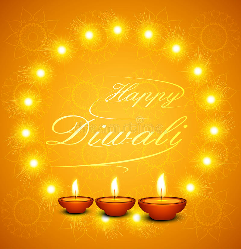 Όμορφο ευτυχές κείμενο Diwali για τον εορτασμό φεστιβάλ διανυσματική απεικόνιση