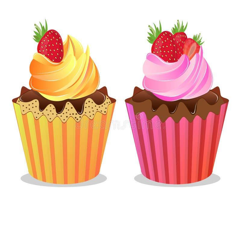 Όμορφο εύγευστο κέικ κρέμας με τις φράουλες σε μια φόρμα, διάνυσμα απεικόνιση αποθεμάτων