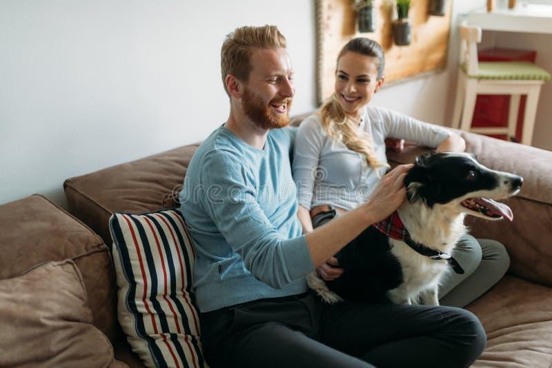 Όμορφο ζεύγος που χαλαρώνει στο σπίτι και που αγαπά το σκυλί τους στοκ εικόνες με δικαίωμα ελεύθερης χρήσης