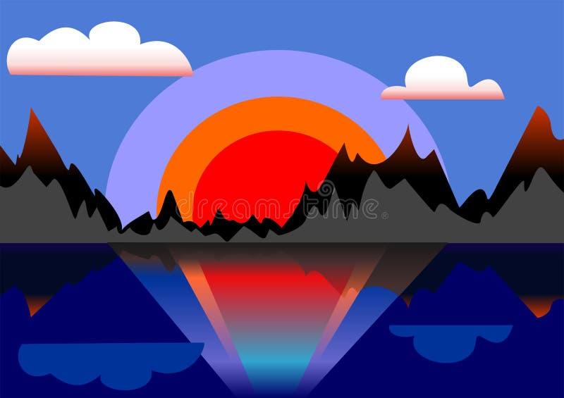Όμορφο ζωηρόχρωμο ηλιοβασίλεμα με τα βουνά και την αντανάκλαση του ήλιου στο νερό του ποταμού διανυσματική απεικόνιση