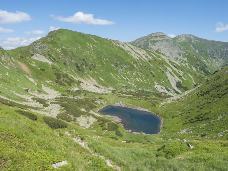 Όμορφο ζωηρό μπλε pleso Horne Jamnicke λιμνών βουνών με την πράσινη άποψη αιχμών βουνών από τη σέλα sedlo Jamnice στοκ εικόνες