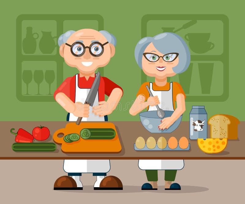 Όμορφο ηλικιωμένο οικογενειακό ζεύγος στις ποδιές που μαγειρεύουν το υγιές φρέσκο πρόγευμα πρωινού στην κουζίνα από κοινού διανυσματική απεικόνιση