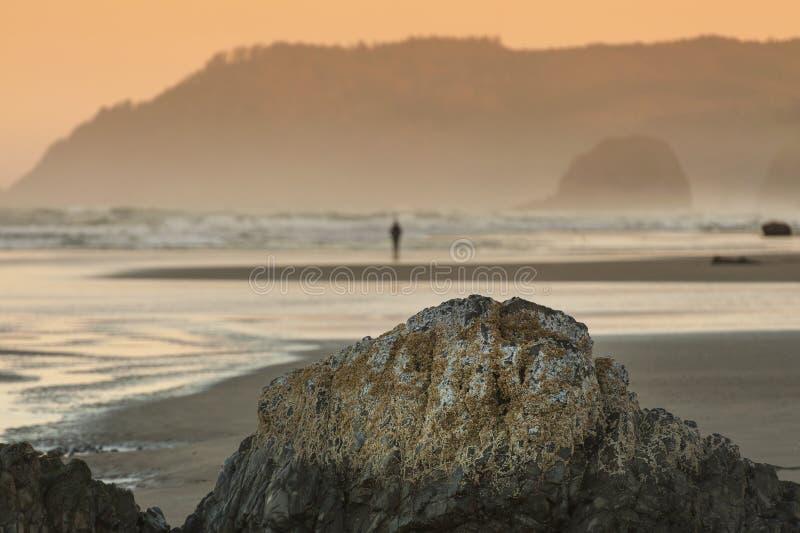 Όμορφο ηλιοβασίλεμα στην παραλία πυροβόλων, Όρεγκον στοκ φωτογραφίες
