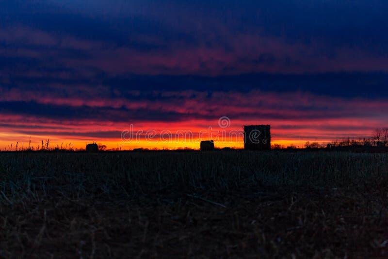 Όμορφο ηλιοβασίλεμα στο ρωσικό τομέα Η κομμένη χλόη συλλέγεται στις θυμωνιές χόρτου στοκ εικόνες με δικαίωμα ελεύθερης χρήσης