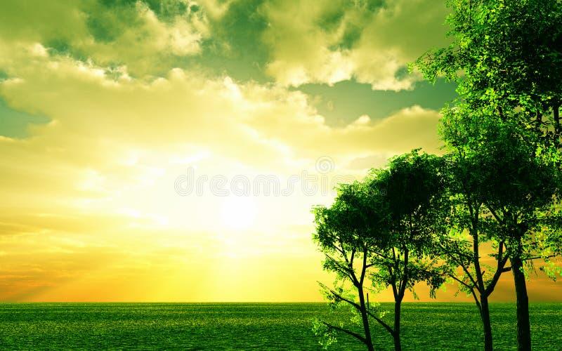όμορφο ηλιοβασίλεμα απεικόνιση αποθεμάτων