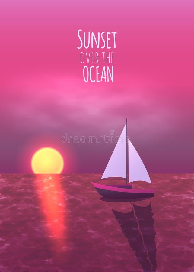 Όμορφο ηλιοβασίλεμα πέρα από τον ωκεανό με το χρυσό ήλιο και το ρόδινο ουρανό επίσης corel σύρετε το διάνυσμα απεικόνισης διανυσματική απεικόνιση