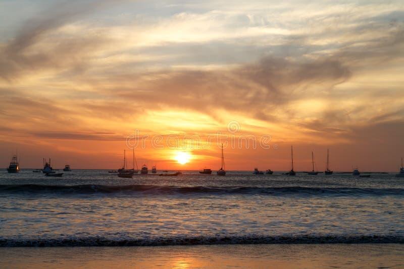 Όμορφο ηλιοβασίλεμα παραλιών SAN Juan del sur στοκ εικόνες με δικαίωμα ελεύθερης χρήσης