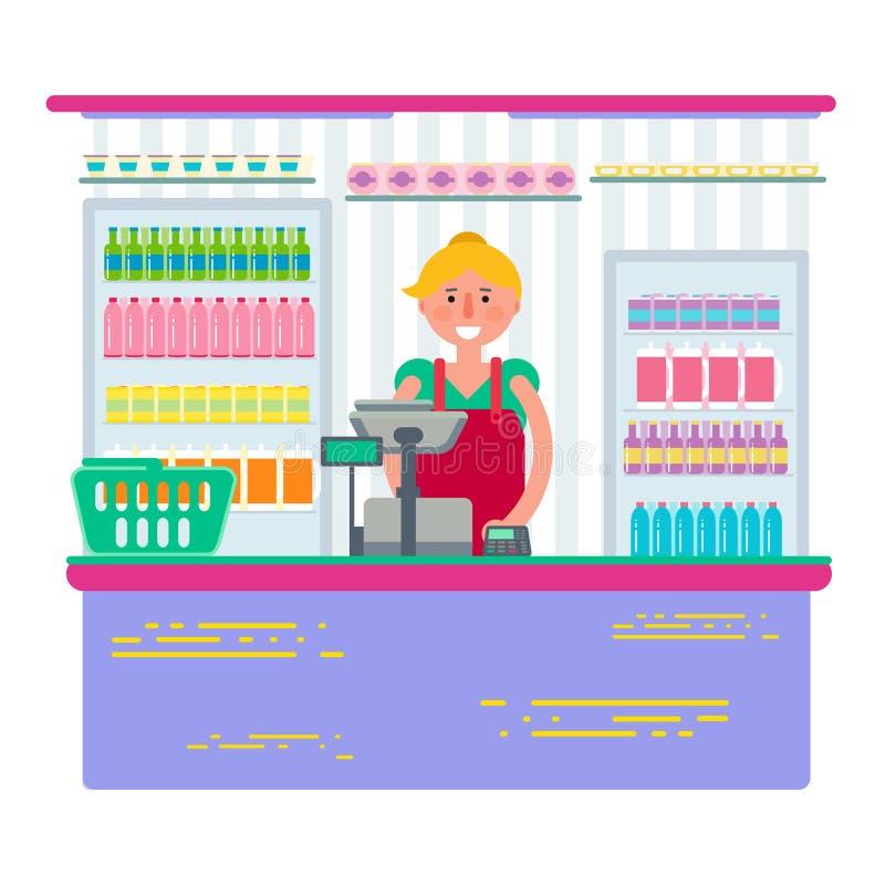 Όμορφο θηλυκό που εργάζεται ως ταμίας στο κατάστημα ή την υπεραγορά Γυναίκα ρ απεικόνιση αποθεμάτων