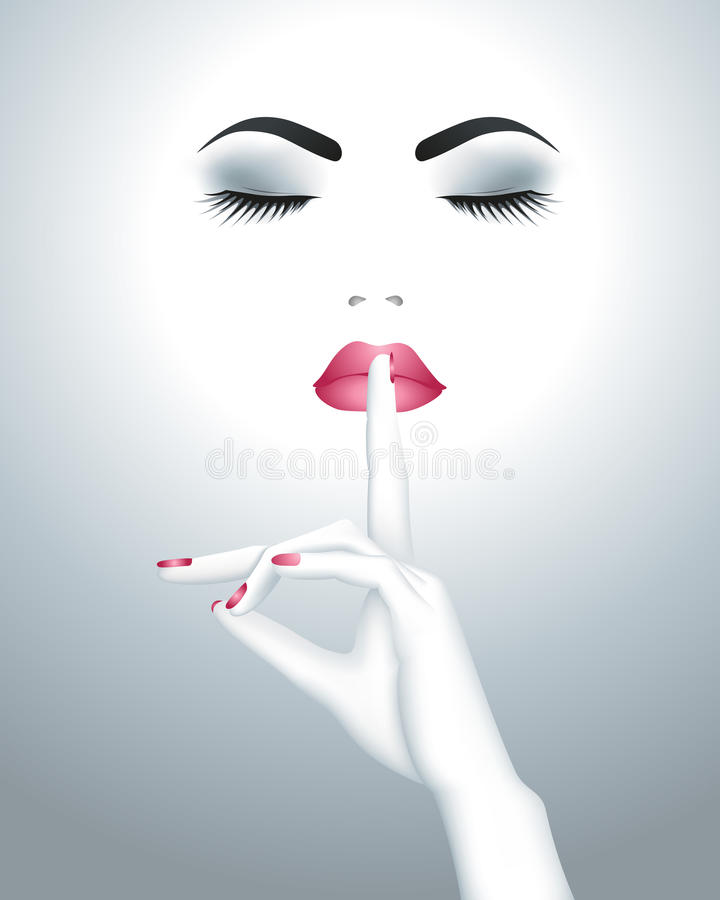 Όμορφο θηλυκό πρόσωπο με το δάχτυλο στα χείλια της διανυσματική απεικόνιση