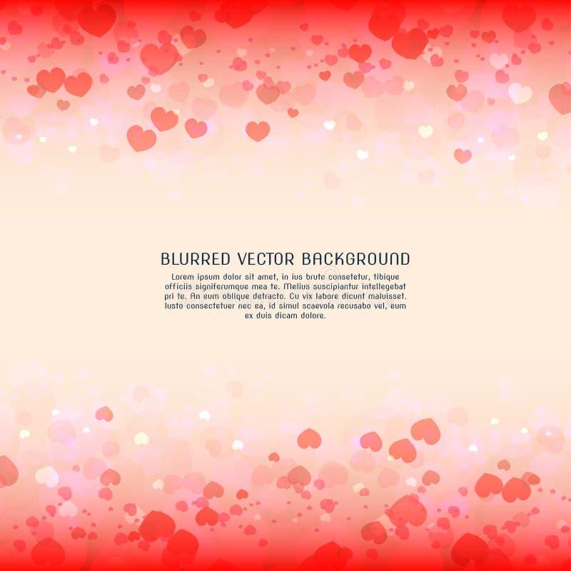 Όμορφο θολωμένο καρδιά διανυσματικό υπόβαθρο για την ημέρα βαλεντίνων στοκ εικόνα με δικαίωμα ελεύθερης χρήσης