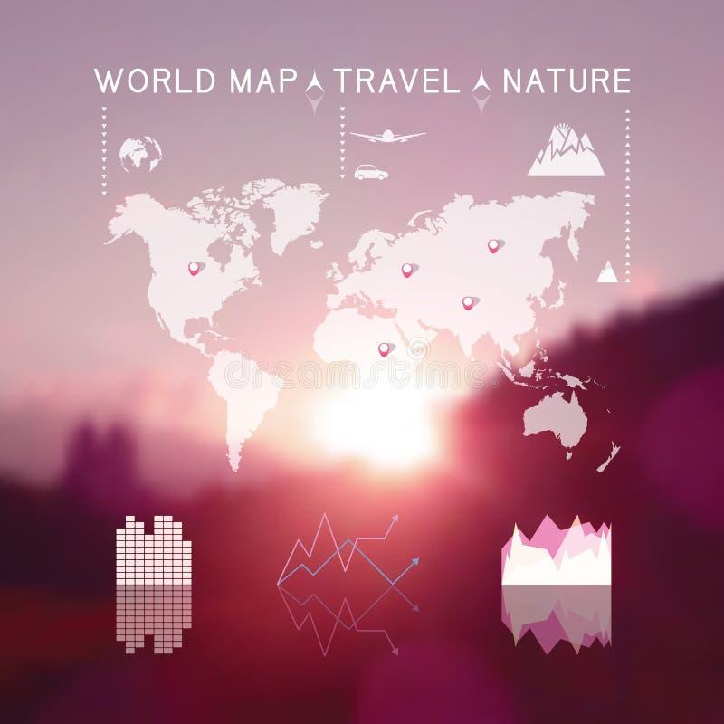 Όμορφο θολωμένο φυσικό τοπίο με το γραφικό ele πληροφοριών ταξιδιού διανυσματική απεικόνιση