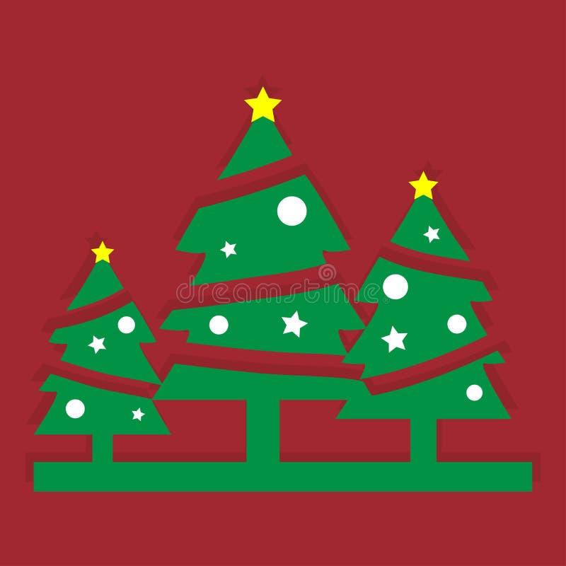 όμορφο διάνυσμα δέντρων απεικόνισης Χριστουγέννων στοκ εικόνες