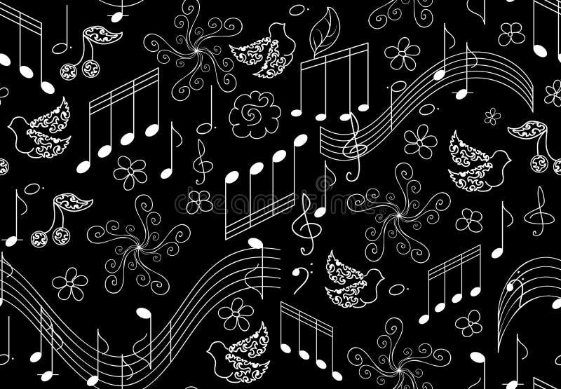 Όμορφο διανυσματικό άνευ ραφής σχέδιο με τα πουλιά τραγουδιού και τις μουσικές νότες απεικόνιση αποθεμάτων