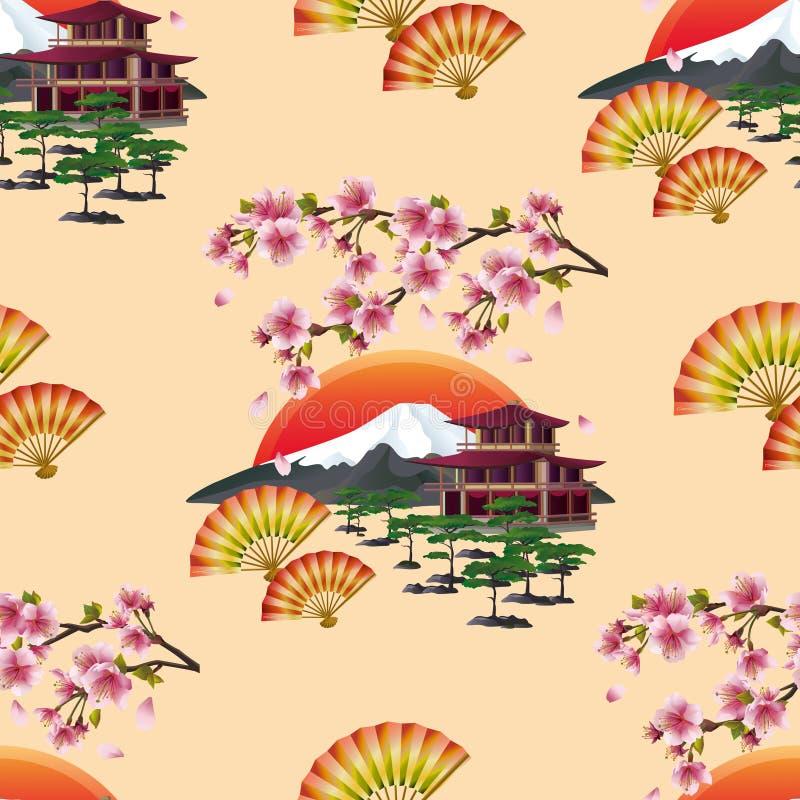 Όμορφο ιαπωνικό άνευ ραφής σχέδιο με το sakura διανυσματική απεικόνιση