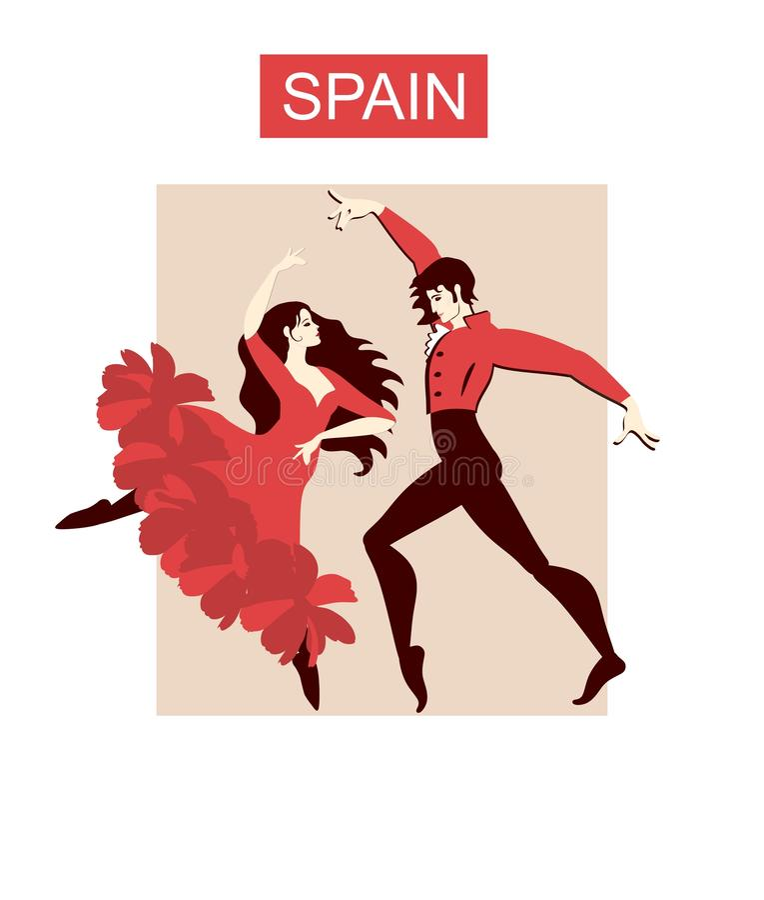 Όμορφο ισπανικό flamenco χορού ζευγών Έμβλημα συναυλίας, αφίσα, κάρτα πρόσκλησης στο διάνυσμα ελεύθερη απεικόνιση δικαιώματος