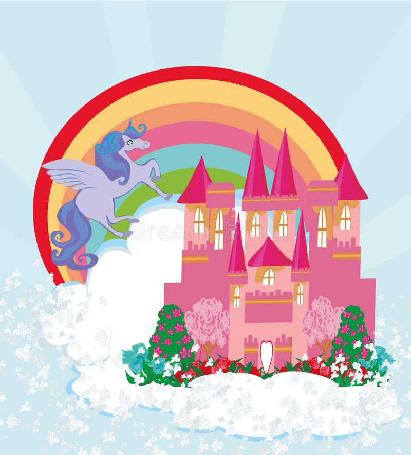 Όμορφο κάστρο πριγκηπισσών μονοκέρων και παραμυθιού διανυσματική απεικόνιση