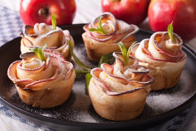 Όμορφο κέικ μήλων υπό μορφή τριαντάφυλλων οριζόντια κινηματογράφηση σε πρώτο πλάνο στοκ εικόνα με δικαίωμα ελεύθερης χρήσης