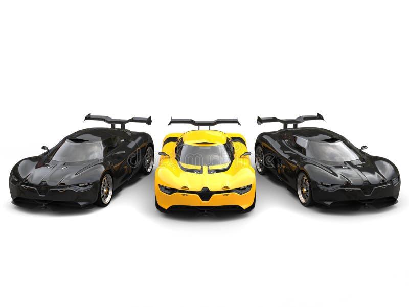 Όμορφο κίτρινο έξοχο αυτοκίνητο με δύο μαύρα αθλητικά αυτοκίνητα σε κάθε πλευρά απεικόνιση αποθεμάτων
