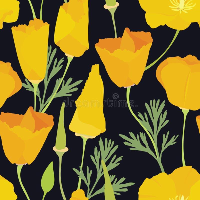 Όμορφο κίτρινο ζωηρόχρωμο άνευ ραφής σχέδιο λουλουδιών διανυσματική απεικόνιση