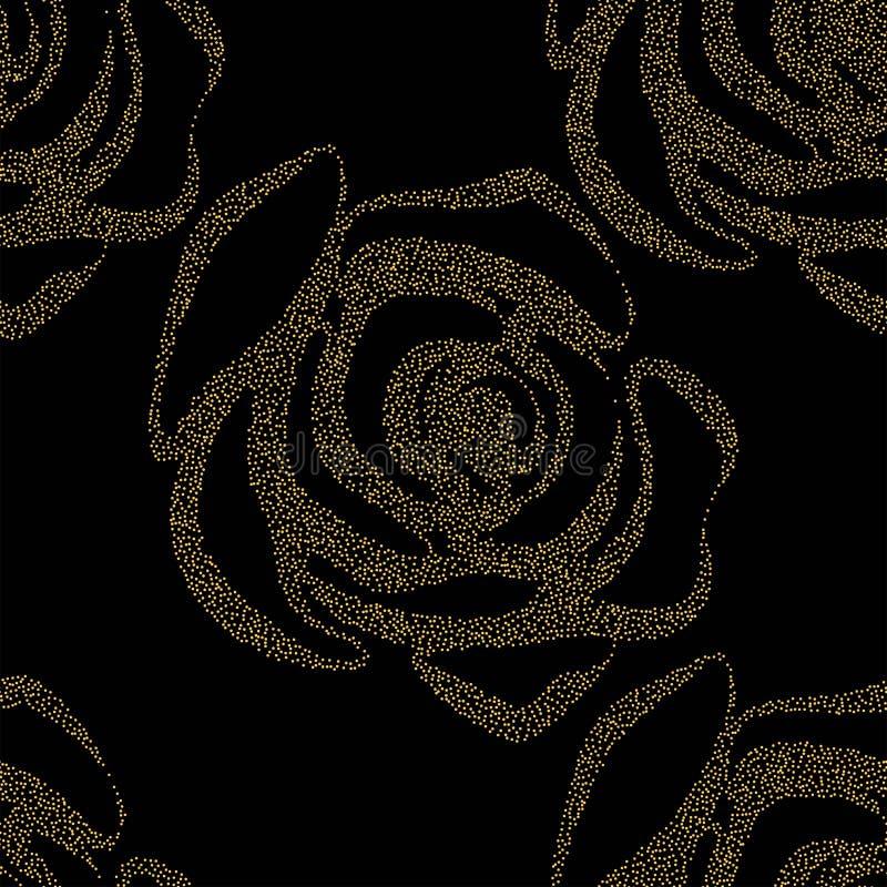 Όμορφο κίτρινο και μαύρο άνευ ραφής σχέδιο στα τριαντάφυλλα με τα περιγράμματα Hand-drawn γραμμές και κτυπήματα περιγράμματος Τελ διανυσματική απεικόνιση