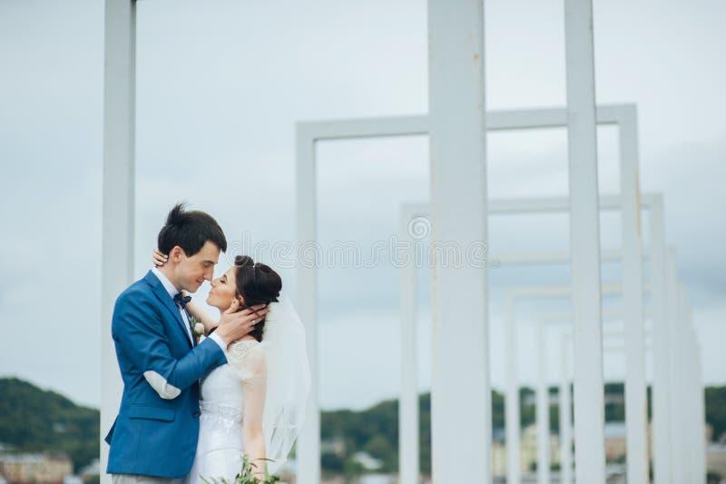 Όμορφο και ευτυχές ζεύγος που στέκεται μαζί υπαίθρια στοκ εικόνες με δικαίωμα ελεύθερης χρήσης