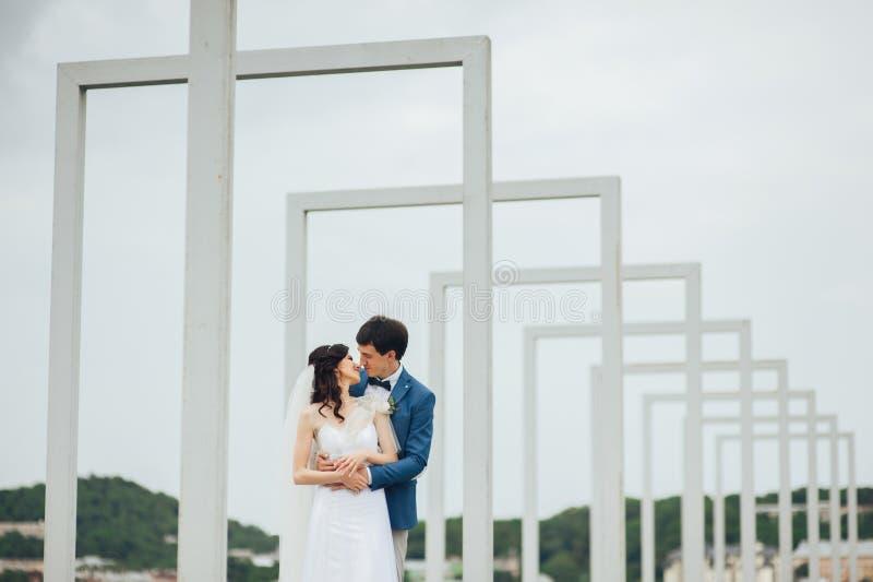 Όμορφο και ευτυχές ζεύγος που στέκεται μαζί υπαίθρια στοκ εικόνα με δικαίωμα ελεύθερης χρήσης