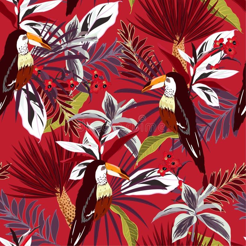 Όμορφο καλοκαίρι τροπικό δασικό ζωηρόχρωμο Toucan, εξωτικά πουλιά, ελεύθερη απεικόνιση δικαιώματος
