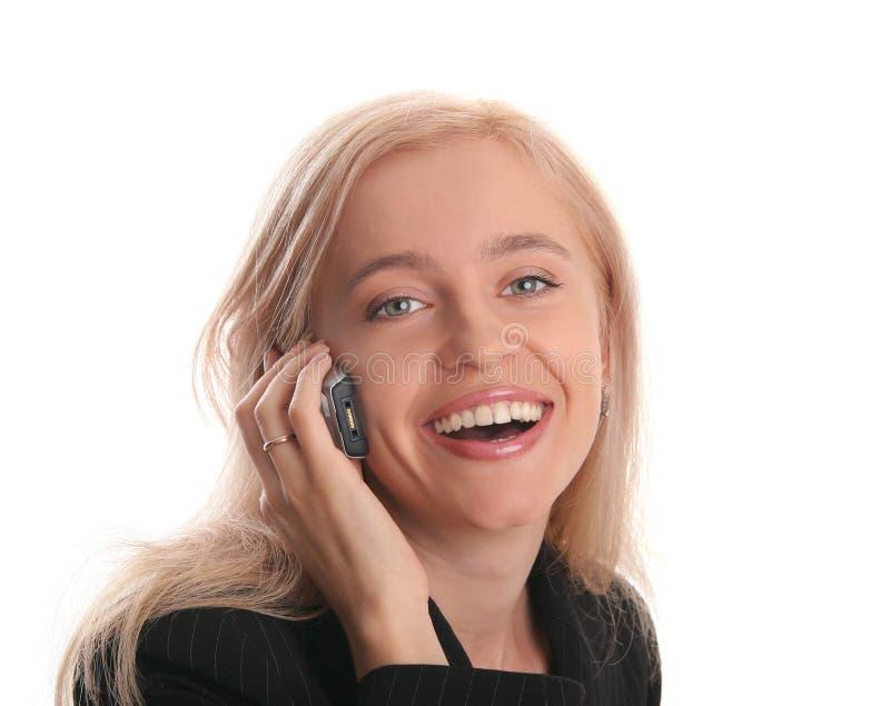 όμορφο κινητό τηλέφωνο επιχειρηματιών στοκ εικόνα