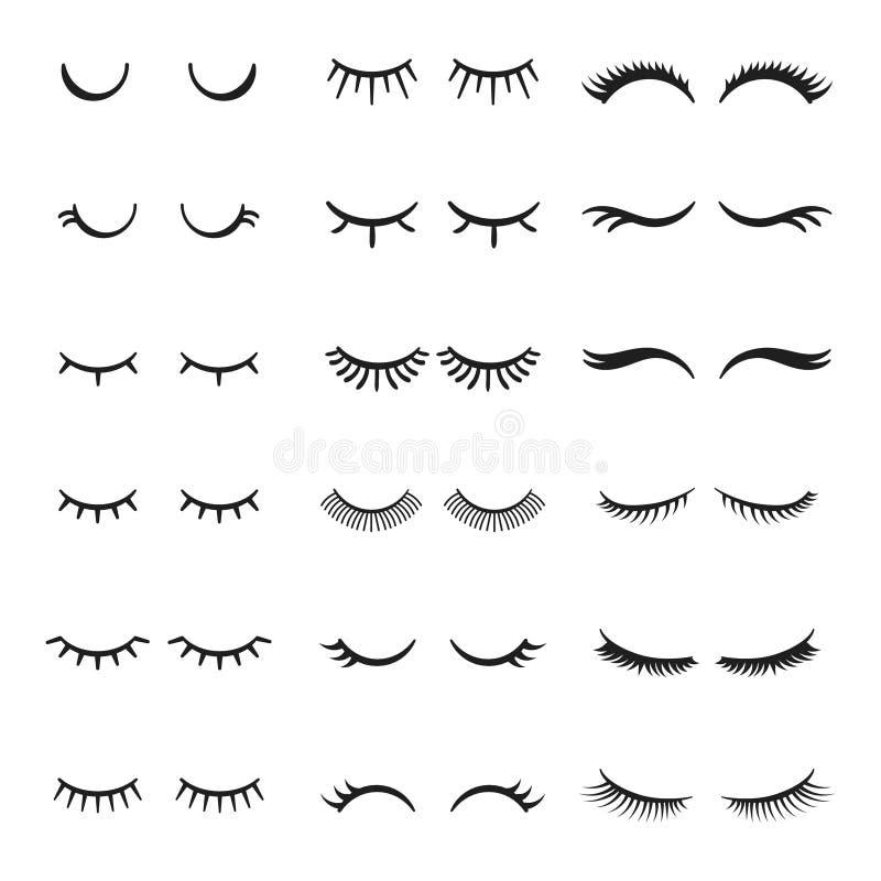 Όμορφο κλειστό ομορφιά κορίτσι ματιών με τα λαμπρά όμορφα μαύρα eyelashes Μυθικό διανυσματικό σύνολο eyelash απεικόνιση αποθεμάτων