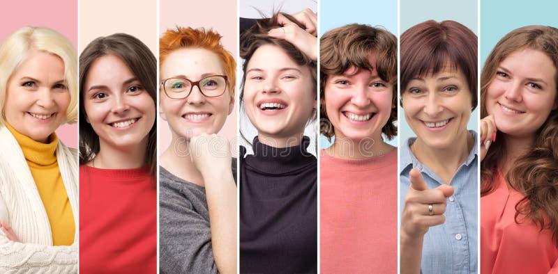 Όμορφο κολάζ προσώπου χαμόγελου θηλυκό μόνο Θετική συγκίνηση στοκ εικόνες