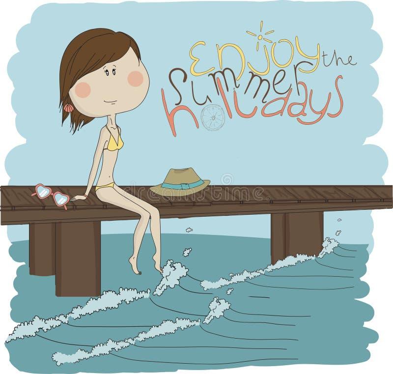 Όμορφο κορίτσι απεικόνισης στην παραλία διανυσματική απεικόνιση
