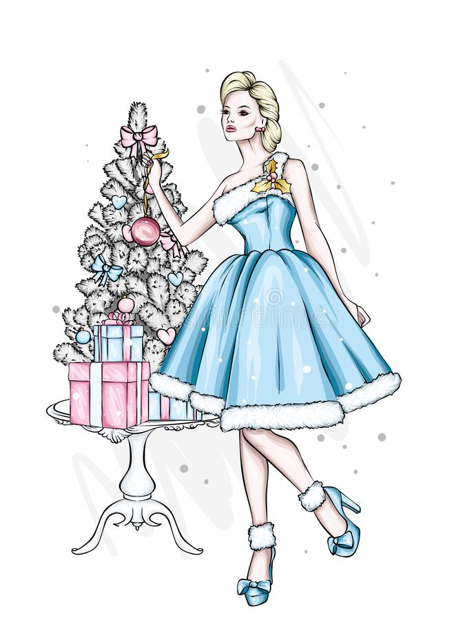 όμορφο κορίτσι βραδιού φ&omicron  Διανυσματική απεικόνιση για μια κάρτα ή μια αφίσα απεικόνιση αποθεμάτων