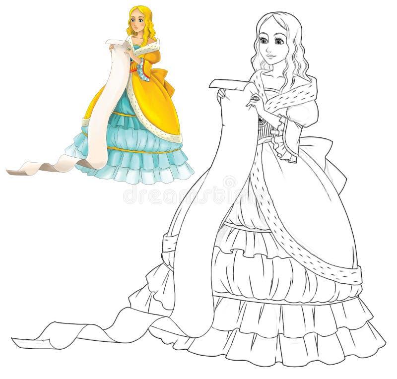 Όμορφο κορίτσι κινούμενων σχεδίων που χαμογελά - που απομονώνεται - με το χρωματισμό της σελίδας ελεύθερη απεικόνιση δικαιώματος