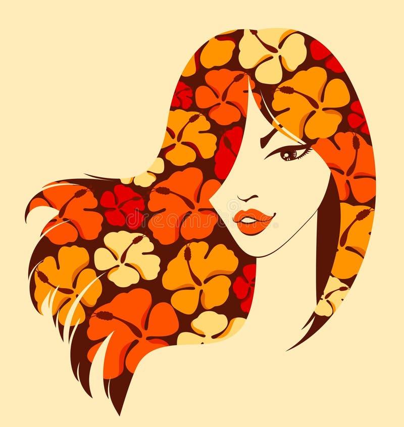 όμορφο κορίτσι λουλου&de διανυσματική απεικόνιση