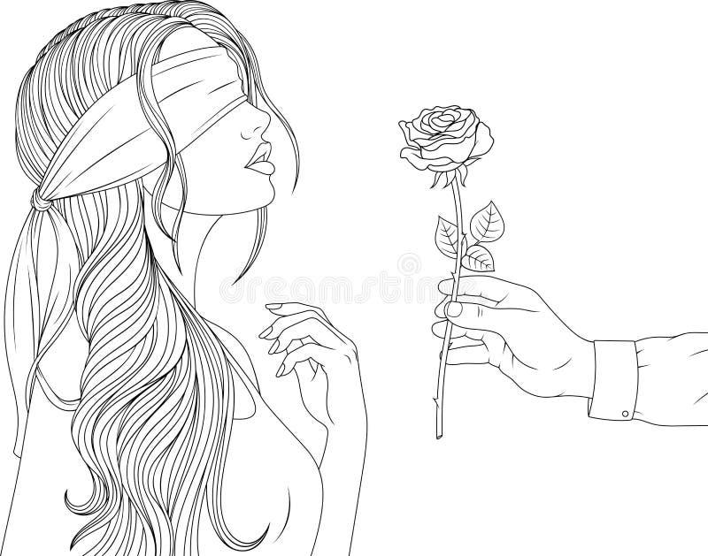 Όμορφο κορίτσι με ένα blindfold απεικόνιση αποθεμάτων