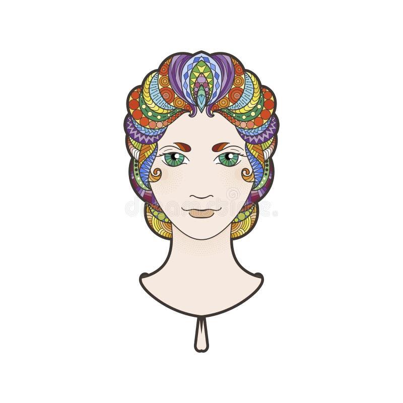 Όμορφο κορίτσι με περίπλοκα διαμορφωμένος, zentangle πλεξούδα και φωτεινά μάτια διανυσματική απεικόνιση