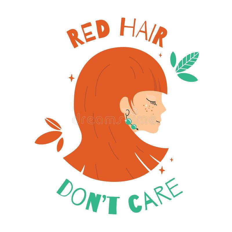 Όμορφο κορίτσι με την κόκκινη τρίχα διανυσματική απεικόνιση