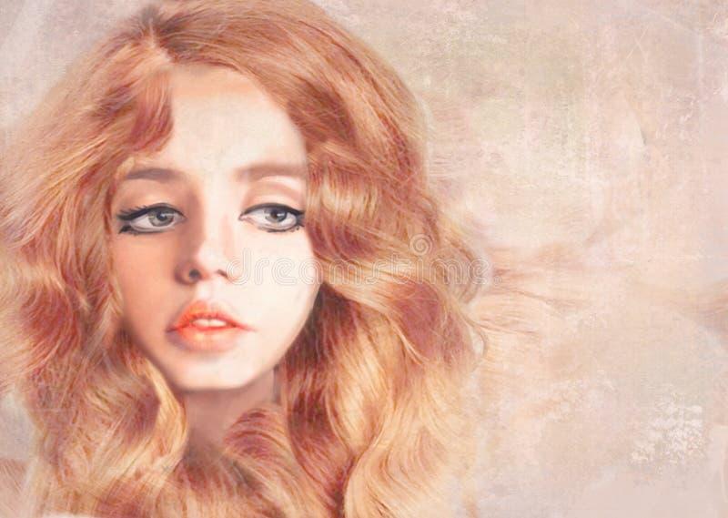 Όμορφο κορίτσι με τη μακριά κυματιστή κόκκινη τρίχα συρμένος εικονογράφος απεικόνισης χεριών ξυλάνθρακα βουρτσών ο σχέδιο όπως το διανυσματική απεικόνιση