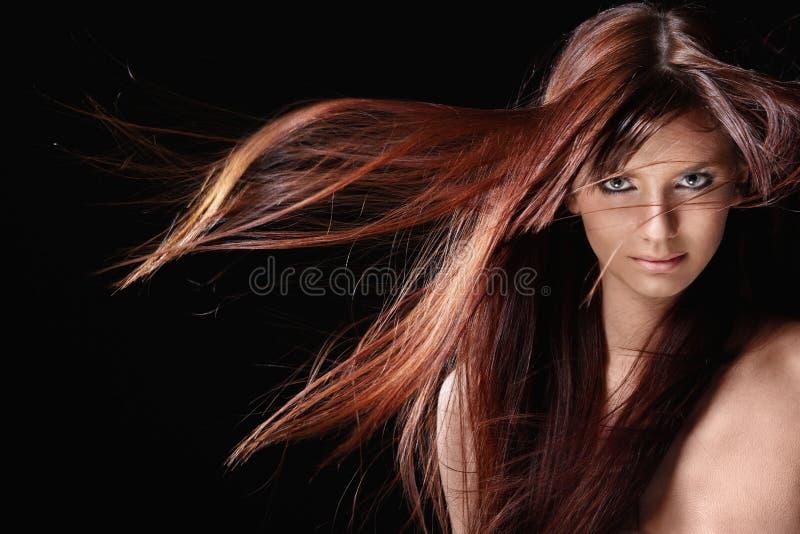 Όμορφο κορίτσι με το κόκκινο τρίχωμα στοκ εικόνα