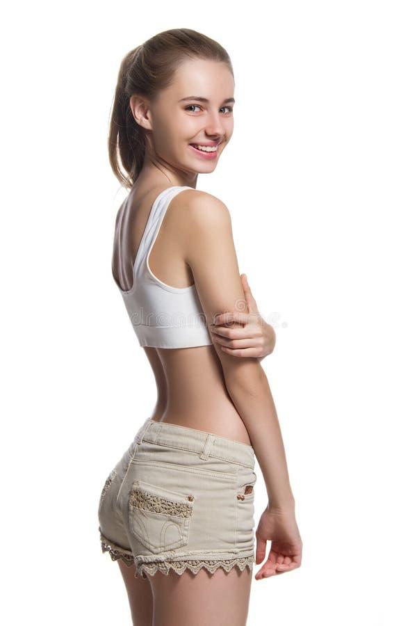 Όμορφο κορίτσι με το τέλειο σώμα στοκ εικόνες