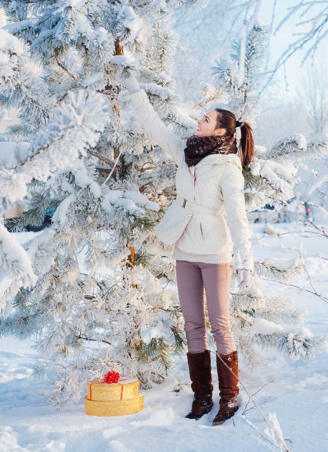 Όμορφο κορίτσι με το δώρο Χριστουγέννων υπαίθριο στοκ εικόνες με δικαίωμα ελεύθερης χρήσης