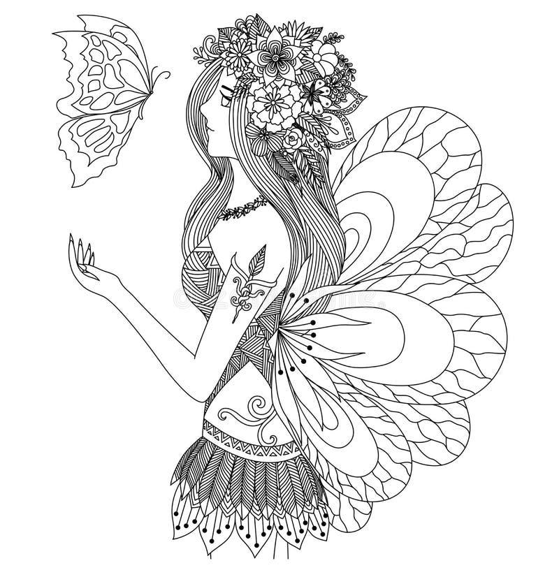 Όμορφο κορίτσι νεράιδων που εξετάζει το σχέδιο πεταλούδων πετάγματος για το χρωματισμό του βιβλίου για τον ενήλικο απεικόνιση αποθεμάτων