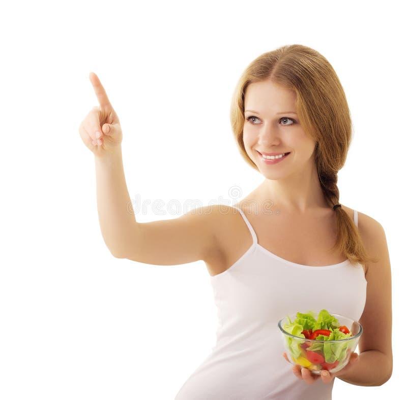 όμορφο κορίτσι πέρα από το vegan λευκό σαλάτας στοκ εικόνες με δικαίωμα ελεύθερης χρήσης