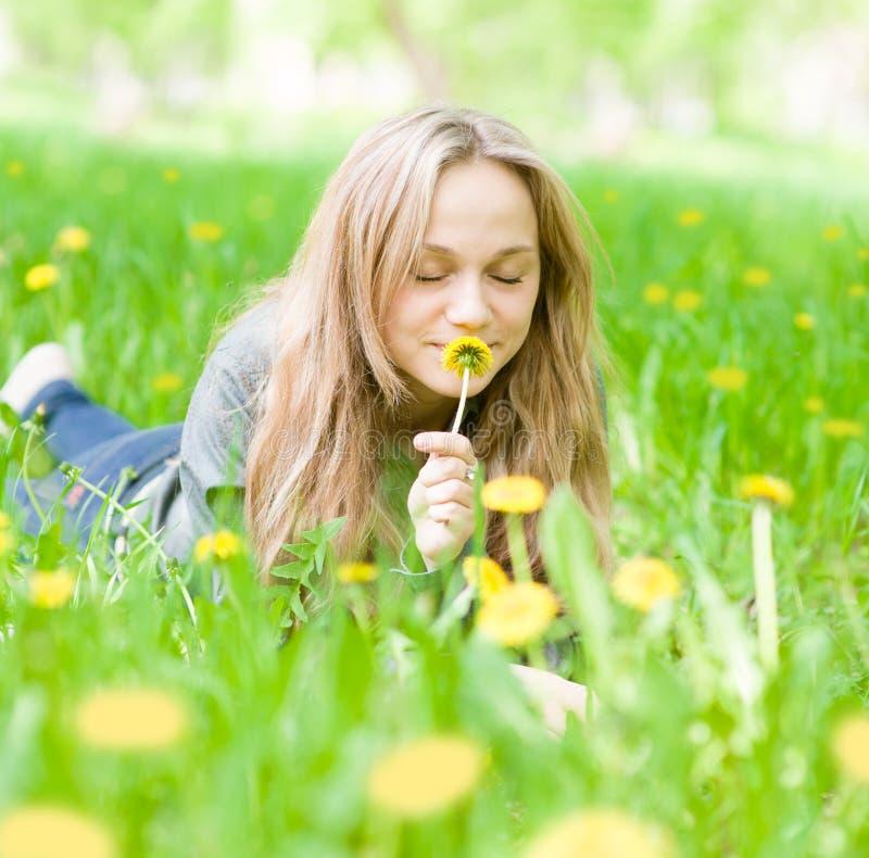 Όμορφο κορίτσι που βρίσκεται στη χλόη και τη μυρίζοντας πικραλίδα στοκ φωτογραφίες με δικαίωμα ελεύθερης χρήσης
