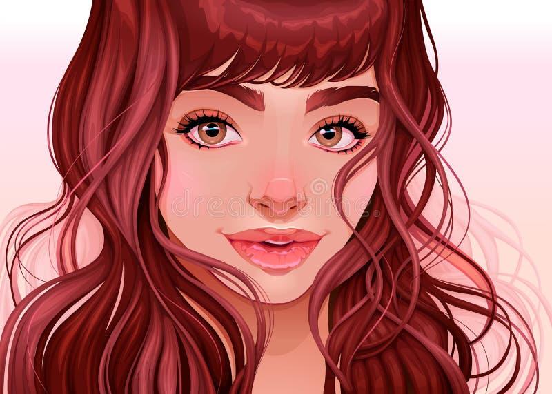 Όμορφο κορίτσι που εξετάζει το θεατή, διανυσματική απεικόνιση απεικόνιση αποθεμάτων