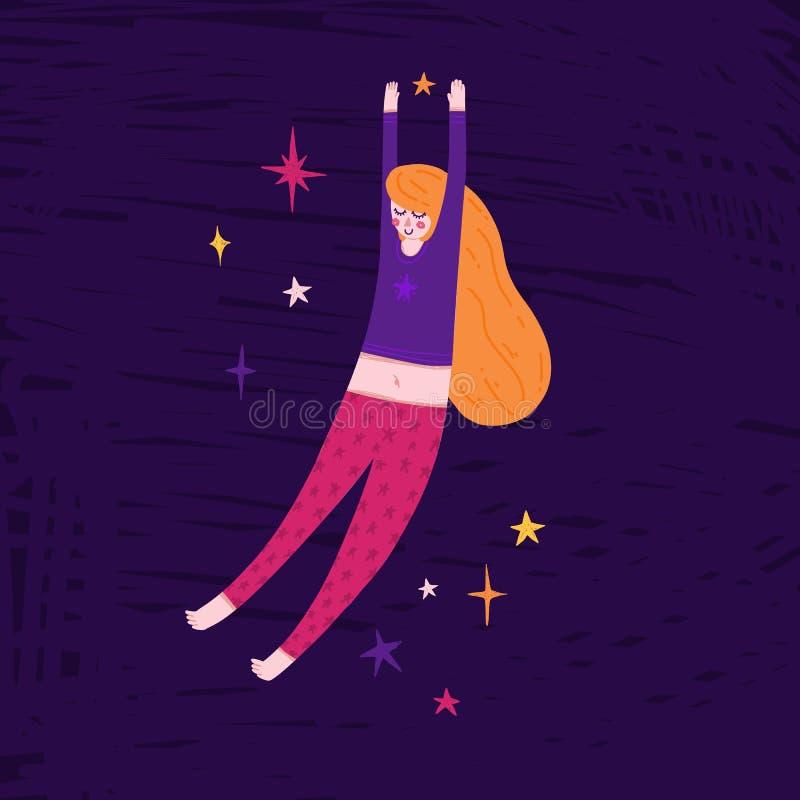 Όμορφο κορίτσι που επιπλέει στο διάστημα Χαριτωμένη hand-drawn απεικόνιση με τη γυναίκα ύπνου στις πυτζάμες και τα αστέρια Σχέδιο στοκ φωτογραφία με δικαίωμα ελεύθερης χρήσης