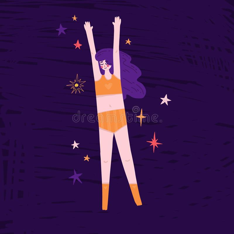 Όμορφο κορίτσι που επιπλέει στο διάστημα Χαριτωμένη hand-drawn απεικόνιση με τη γυναίκα ύπνου στις πυτζάμες και τα αστέρια Σχέδιο στοκ εικόνα